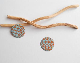 X 2 sequins cognac and light turquoise charms