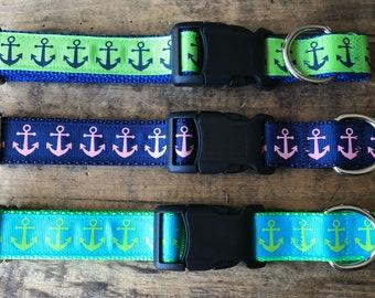 Anchor Dog Collars | Nautical Dog Collars | Sewfetchdogcollars | Maine Dog Collars | Teal Dog Collars, Salty Dogs