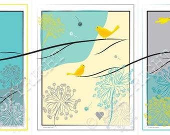 "TRYPTIC birds-- 3 - 11"" x 14"" illustrations"