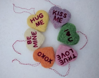 Needle Felted Two-Dimensional Conversation Heart, Made to Order
