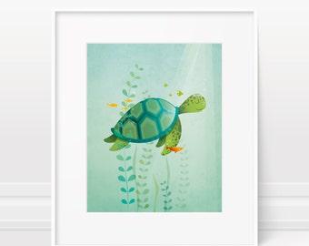 Nursery wall art - turtle nursery art, animal nursery decor, original nursery art, ocean nursery, sea life nursery art print, children's art