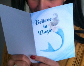 Mermaid 'Believe In Magic' - Blank Greeting Card - Note Card  - Featuring Original Art - On Sale