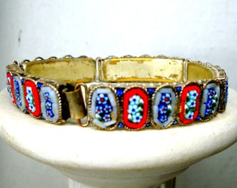50s Italian Micromosaic Flower Link Bracelet, Vintage Shabby Used Foxed, Glass Tesserae Tiles, RED Blue n White Flowers, Venice Italy AS IS