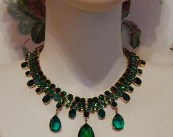 Czech, Emerald Green Glass, Vintage, Late 1930's Brass Necklace
