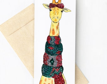 Greeting Card with a Giraffe wrapped in a scarf // Wool // Illustration // Large format card // Winter Card // Boho card // Get well card