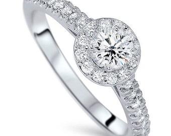 Halo Diamond Engagement Ring Round Brilliant Cut 14 KT White Gold 3/4CT