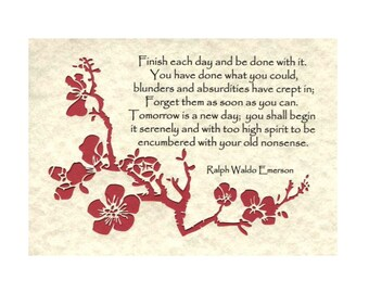 Finish each day RW Emerson Paper Cut Cherry Blossom Red 5X7 Unframed