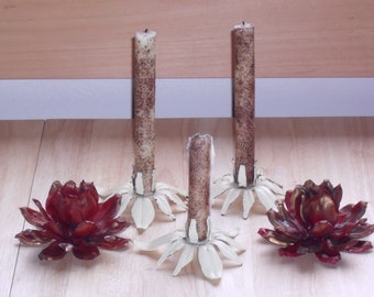 5  Vintage Painted Metal Flower Candleholders