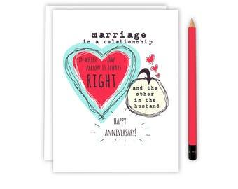 Funny Anniversary Card - Wedding Anniversary - Anniversary Card - Wedding Advice Card