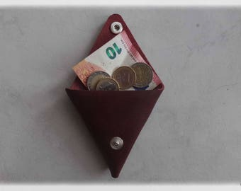 Triangle brushed mahogany leather wallet