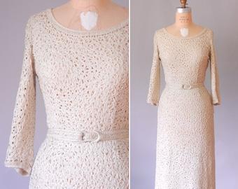 Alana cream ribbon knit dress   50s wedding dress   vintage 50s cocktail dress
