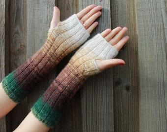 Fingerless Gloves White Brown Olive Green Arm Warmers Knit Soft Handmade