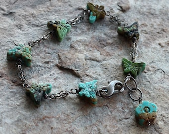 BUTTERFLY bracelet, TURQUOISE bracelet Carved flower, carved butterfly bracelet, sterling silver floral, Carved Turquoise