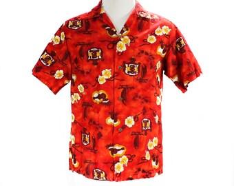 Men's Small Aloha Shirt - 50s Red Hawaiian Cotton Shirt - 1950s 60s Label - Hawaii Crest Map Novelty Print - Summer Top - Chest 42 - 50050