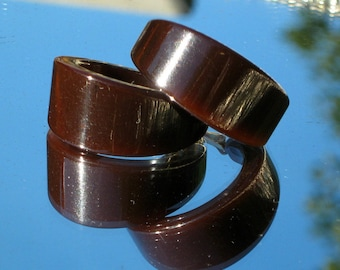 Bold Bakelite Vintage Earrings Hoops Statement Chunky Statement Mid Century Modernist Marilyn Hollywood Wide Chocolate Brown Clips Art Deco