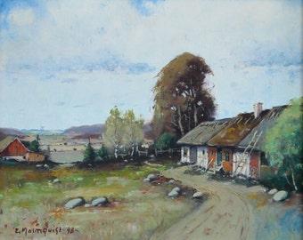 Vintage Art Original Landscape Oil Painting by Ernst Malmquist Sweden