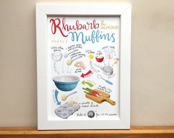 Rhubarb & Almond Muffins, A4 illustrated print featuring a recipe for rhubarb muffins.