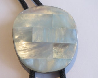 Faux  Abalone Bolo Tie, Acrylic  Oval Gray Blue on Brass Bolo Tie IC Lot 8-2