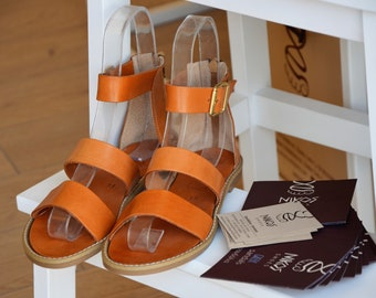 """Greek Leather Sandals """"antiope"""" code #189"""