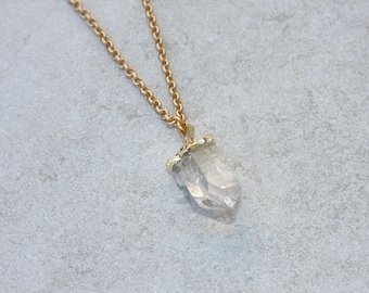 Glam Long Quartz Crystal Pendant on Matte Gold or Silver Chain