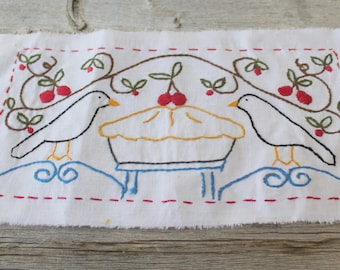 Black Bird Pie, Hand Embroidery, Completed Needlepoint, Kitchen Decor, Ready to be framed
