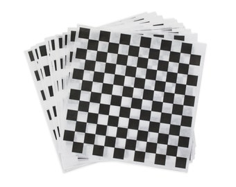 """Black and White Check Deli Wrap, 12"""" x 12"""" Checkered Sandwich Wrap, Food Box Liner, Picnic Food Tray Paper, Burger Wraps, Little Man Party"""