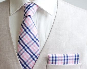 Necktie, Neckties, Mens Necktie, Neck Tie, Groomsmen Necktie, Ties, Neck Ties, Ties, Wedding Neckties, Plaid Necktie - Pink And Navy Plaid