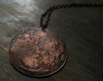 Full Moon Pendant - Etched Copper Moon Necklace