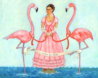 "Signed 10x8"" Giclee limited edition print ""Flamingo Frida"", for those who love Frida Kahlo and Day Of The Dead! By Laura Robertson"