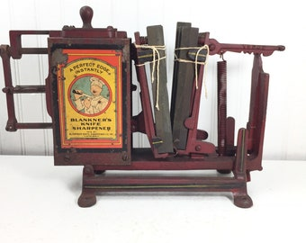Antique knife sharpener,Blankner Knife Sharpening Co., Cleveland Ohio vintage tool, metal tool, farm find, industrial decor, antique machine