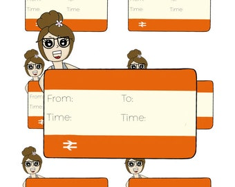 Digital Download - Train Girl stickers - Janey