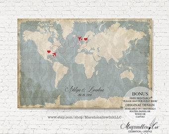 Wedding Gift, Wedding Map Guest Book Bridal Gift, Wedding Guest Book Alternative, Vintage Wedding Signs, Destination Wedding Canvas Poster