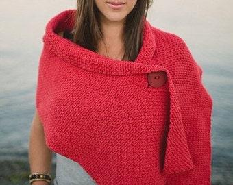 "Shawl CROCHET PATTERN: ""Button Wrap Shawl"" Crochet Wrap"