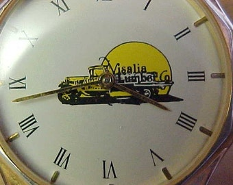 ADVERTISING WATCH--VISALIA LuMBER Co--It doesn't work but nice Visalia, California Lumber Co Advertising--made by Sweda