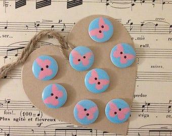 8 buttons wood blue butterflies