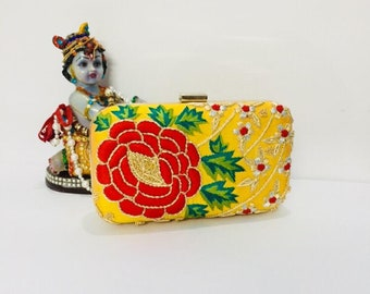 Embroidered Clutch bag, evening clutch bag, zardosi clutch, sling bag, handbag, ladies purse, theboxclutch