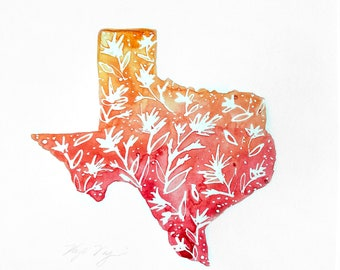 Red and Orange Texas Watercolor