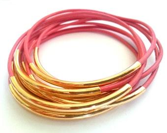 Set of 9 Coral  Bangle Bracelets - Leather Bangle - Leather Bracelet - Boho Bracelet - Boho Leather Bracelet - Boho Stackable Bracelets
