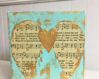 Amazing Grace Angel Wings, angel wings art, guardian angel art, amazing htave art, spiritual art, memorial gift, Valentine's gift