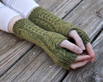 Hand knit cabled fingerless gloves, women's fingerless mitts, celtic cable gloves, wool arm warmers, green knit gloves, 100% superwash wool