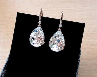 Bridal Earrings Rose Gold Wedding Earrings Bridal Jewelry Rose Gold Earrings Wedding Jewelry Gift for Mother of Bride Crystal Earrings jm