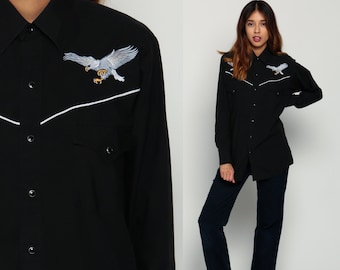 Western Shirt EMBROIDERED BIRD 70s Pearl Snap Cowboy Black Button Up Top 80s Vintage Long Sleeve Blouse Rockabilly Small Medium