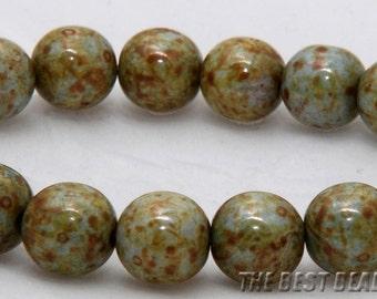 30pcs Marmoreal Travertine Round Czech Glass Pressed Beads 10mm