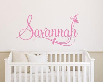 Personalized Girls Name Wall Decal | Baby Girl Name Decal | Nursery Decor | Custom Name Decal | Baby Shower Gift | Wall Art  CE165