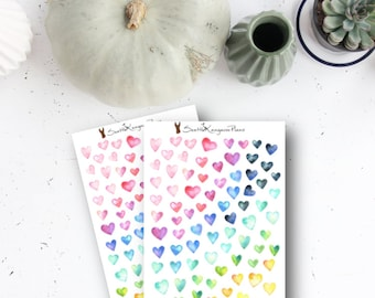 Watercolour Hearts (80+ Planner Stickers ) || SeattleKangarooPlans