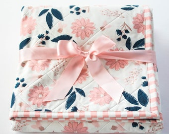 Floral Nursery Baby Quilt, Handmade Baby Quilts, Blush Pink & Navy Blue, Whole Cloth Quilt, Handmade Baby Girl Baby Gift, Modern Baby Quilt