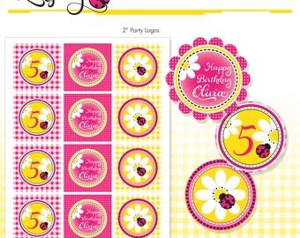 "Ladybug Cupcake Toppers - Pink Ladybugs Printable 2"" Birthday Party Circles - DIY - Do-It-Yourself Printables - Ladybug Printables"