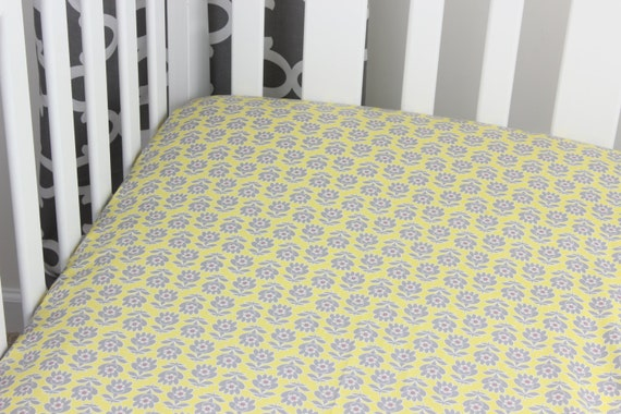 Gray and Yellow Floral Cotton Crib Sheet Yellow and Gray Nursery Grey and Yellow Changing Pad Cover Baby Crib Yellow Floral Crib Sheet