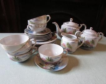 Vintage Japanese Kutani Geisha Lithophane teaware