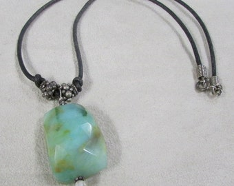 Faceted Green Stone on Leather Cord Necklace